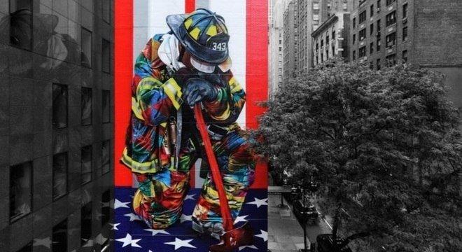 Kobra faz grafite em homenagem ao 11 de setembro